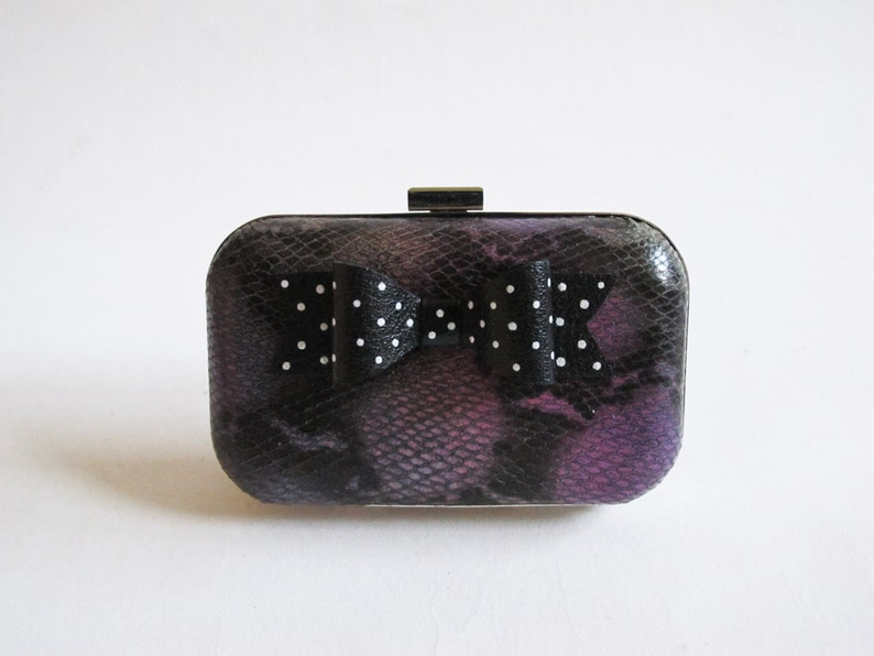 Little Black Bow Clutch Silver Dots /Symphony Lambskin Leather image 0