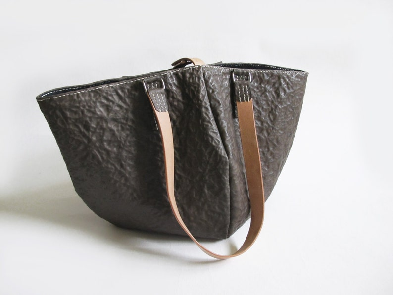 Brown Abstract Cowhide Leather Tote Bag With Black Lining image 0