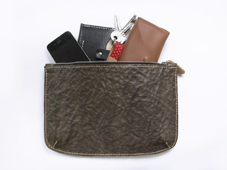 Large Zipper Pouch Wallet / Brown Abstract Patterns Leather/ image 0