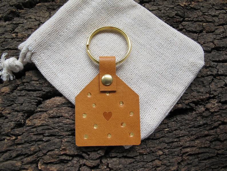 Personalised leather loop keyring Vegetable Tanned Leather Custom Brown/Dots
