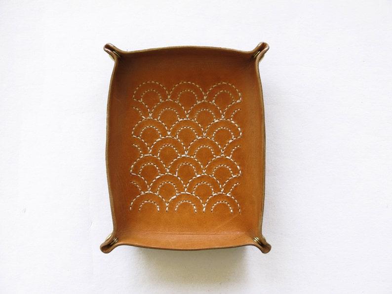Catchall Sashiko Leather Tray  Seigaiha Blue Ocean Wave image 0