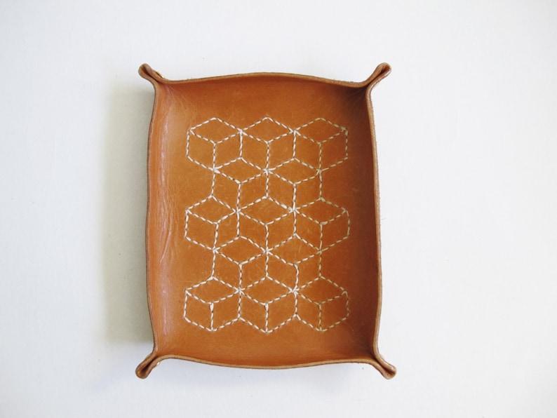 Catchall Sashiko Leather Tray Tumbling Blocks Embroidery image 0