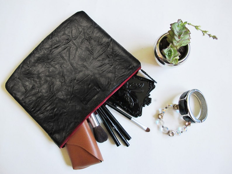 Huffy Black Leather Clutch/ Hand-Stitched/ Handcrafted image 0