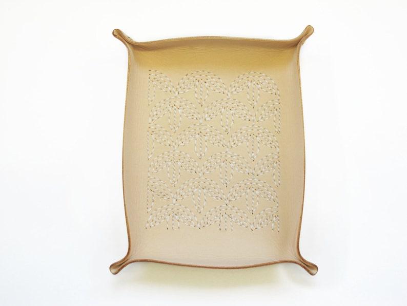 Catchall Sashiko Leather Tray  Bamboo Embroidery Leather image 0