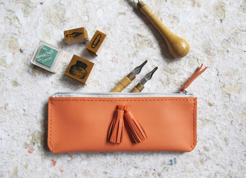 Personalized Leather Pencil Case With Tassels Hand stitched image 0