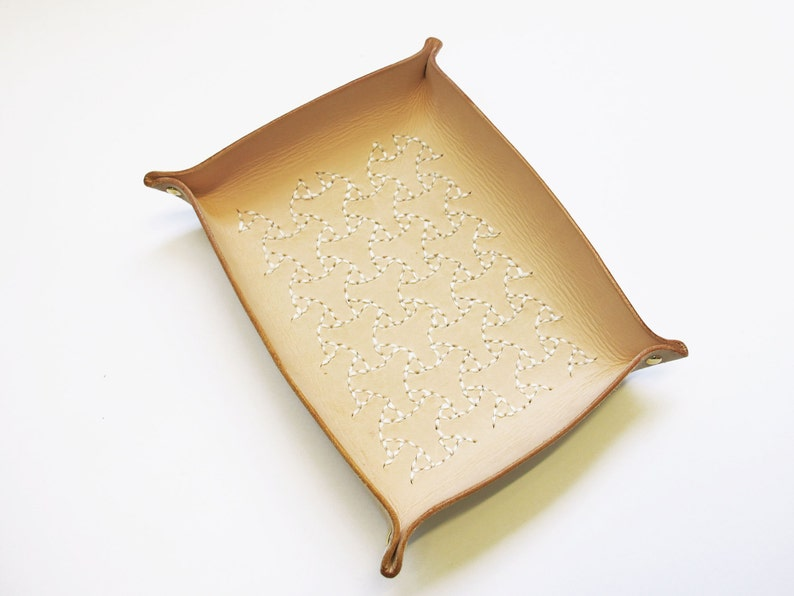 Catchall Sashiko Leather Tray Sashiko Maru-Bishamon image 0