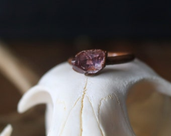 Smokey Amethyst Copper Ring 6 1/2 | Electroformed Copper Ring