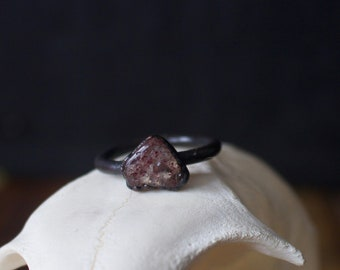 Speckled Quartz Copper Ring 6 1/2 | Strawberry Quartz Electroformed Copper Ring