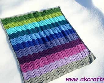 "Crochet Pattern for Beginner - ""Under the Sea"" - Wavy Ripple Blanket - Easy Crochet Baby Blanket   - Pdf -  Instant Download"