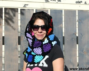 Crochet Pattern - Retro Granny Squares Rainbow Scarf  - Pdf -  Instant Download -