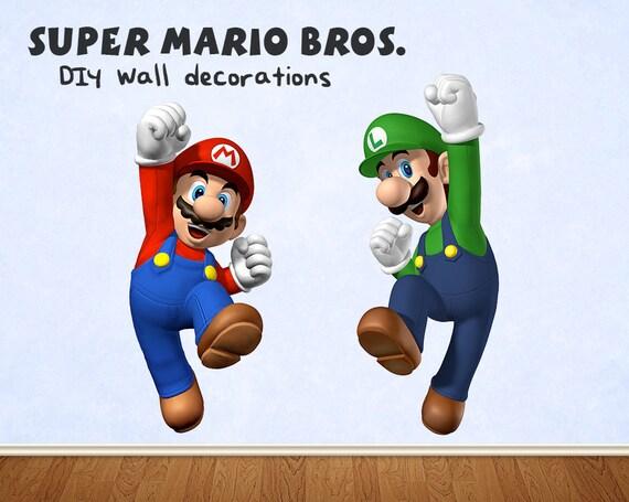 Super Mario Bros Mario Luigi Jumping Giant Wall Decorations Etsy