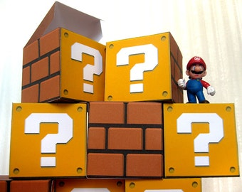 Super Mario Bros. Question Block papercraft party favor boxes DIY (mystery block, prize block, Mario Brothers, candy box, treat box)