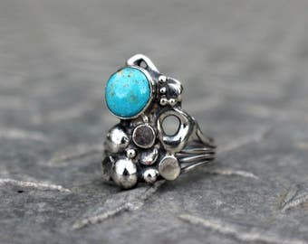 ARTISTIC Turquoise Ring, One of a Kind, Sterling Handmade, Turquoise Jewelry, Freestyle, Handcrafted, Hippie Style, Boho Chic, Summer Ready