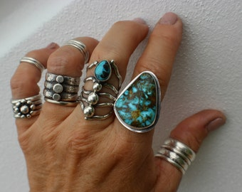 Large Turquoise Ring, Simple Setting, Earthy Looking, Turquoise Jewelry, Handmade Silver Ring, Hippie Chic, Natural Looking, Blue and Brown