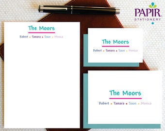 Family Stationery, Personalized Stationery, Monogrammed Stationary, INFORMAL Monogram Stationery Set, Custom Note Cards and Notepad, FCS007