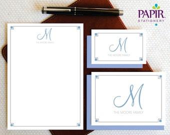 Family Personalized Stationery - Monogram Stationary - ELEGANT Monogram Stationery Set , Folded Note Cards and Notepad, Family Gift - FCS003