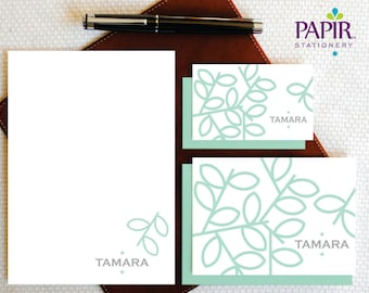 Fanciful TREE BRANCH Personalized Cards and Notepad Set - Custom Personalized Stationery - Modern Stationary Set for Women - GCS001