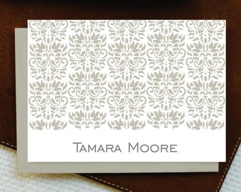Personalized Stationery Set Personalized Stationary DAMASK Note Card Set + Envelopes, Thank You Cards, Mother in Law Gift, Wife Gift, GNC007