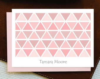 Personalized Note Cards Personalized Stationery Set Personalized Stationary, TRIANGLES Custom Stationery Note Card Set, Select Color, GNC024