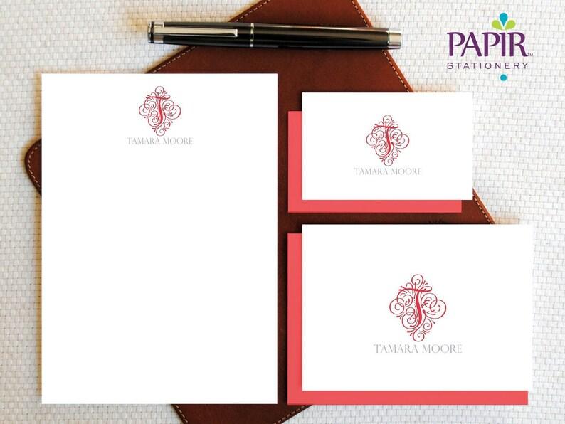 Monogram Personalized Stationery Vintage Initial Monogram Personalized Note Cards and Notepad Set Feminine Boxed Stationery Gift Set