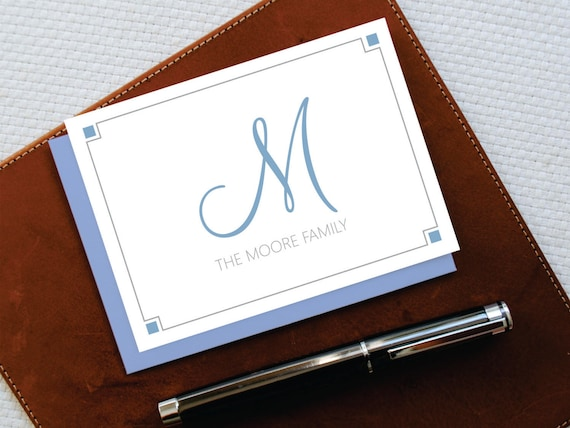 Family Stationery ELEGANT Monogrammed Note Cards Thank YouCustom Note Cards FNC003 Personalized Note Cards Personalized Stationery Set