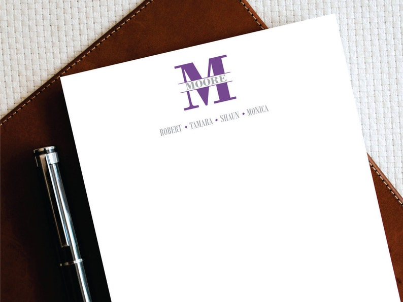 Personalized Stationery Personalized Family Stationery,TIMELESS Monogram Stationery Note Cards and Notepad Complete Stationery Set FCS012