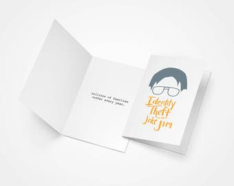 The Office TV Show Dwight and Jim Identity Theft Greeting Card