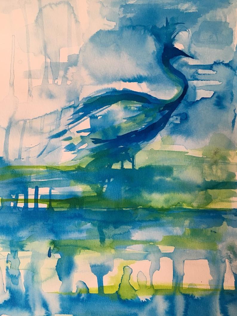 Blue Waterbird  original artwork image 0