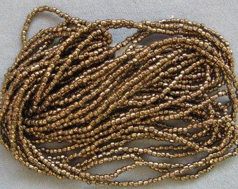 1 Hank, Size 9/0 Bronze 3-Cut Seed Beads