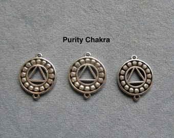 3 Pieces, Purity Chakra Charm, 2 Hole Link, Antique Silver Color, Charm Connector