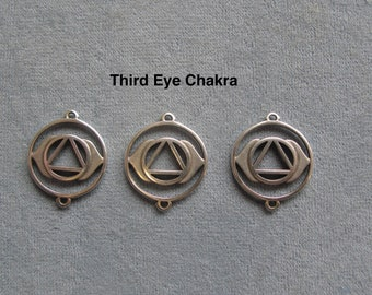 3 Pieces, Third Eye Chakra Charm, 2 Hole Link, Antique Silver Color, Charm Connector