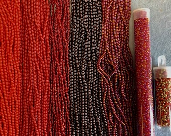 Size 11/0 Czech Seed Bead, Red, Ruby Silver Lined, Red AB, Burgundy Metalic, Lt. Red/Gold, Ruby Transparent AB, You Choose Color