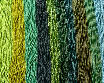 Size 11/0 Czech Seed Beads, Green, Opaque, AB, Silver Lined, Luster, Green Turquoise, Czech Seed Beads