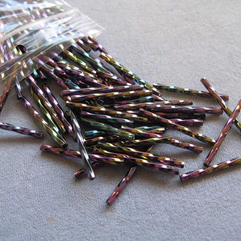 "1 Hank Opaque Purple Glass 6mm 1//4/"" Long Tube Bugle Beads"