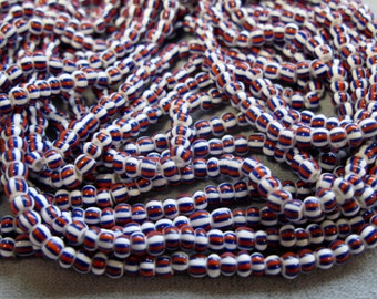 120 Inches White with Red, Blue Stripes, 6/0 Czech Seed Beads