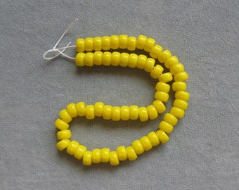 60 Pieces Yellow Opaque 6mm Roller Beads, Pony Beads, Czech Beads, Large Hole