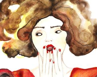"Watercolor titled ""Ciel, mon vernis"" fashion art poster"