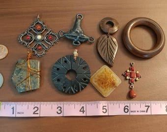 Detash Lot Boho Pendants, Handmade Wood, Stone, etc