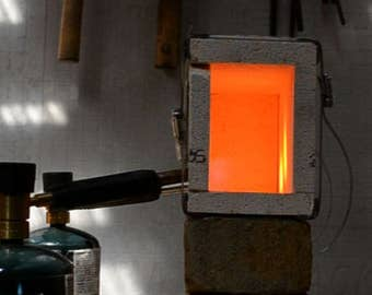Propane Blacksmith Forge: Wider Two Brick Smelting Forge - Mini Gas Forge, Blacksmith Forged Knife Making Heat Treating