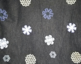 Black Flannel With Snowflakes Fabric