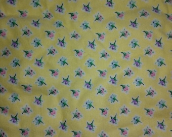 Yellow with Colorful Flowers  Flannel Fabric