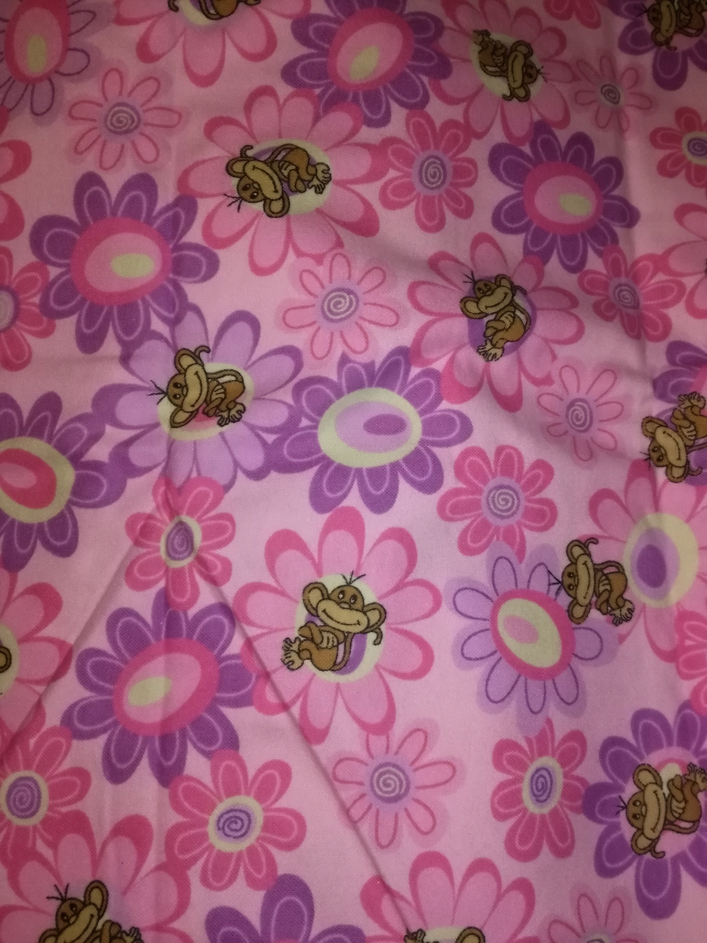 Pink Monkey Wflowers Flannel Fabric Etsy