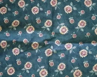 Green Sunflower Fabric
