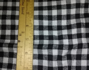 Black Gingham/Checked Flannel Fabric