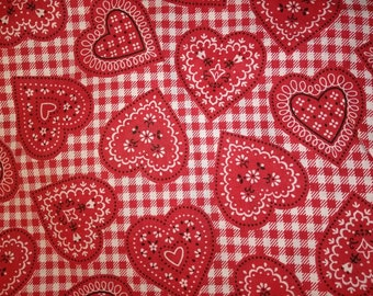 Red Cotton Hearts Fabric