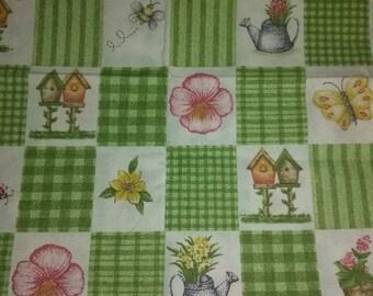 Green Block Garden Flowers and Bird House Fabric