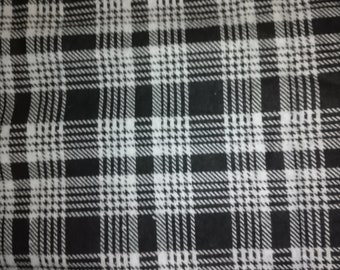 Black Plaid Flannel Fabric