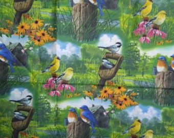 Country Morning Song Birds Fabric