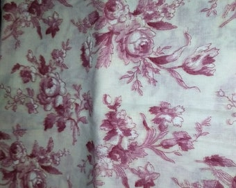 Red Rose on White Cotton Fabric