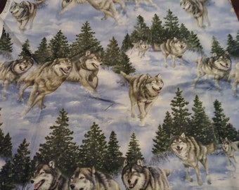 Wolf Flannel Fabric